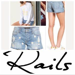 Rails Jesse Embroidered Cutoff Denim Shorts